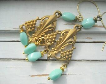 Persephone Greek Goddess dangle earrings, vintage brass grape connectors and spring green beads, dangle earrings