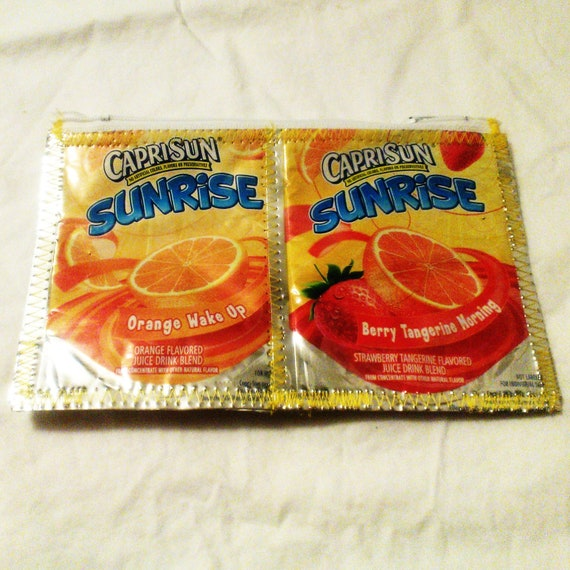 GO GREEN Zipper Pouch or Clutch made with Recycled Juice Pouches SUNRISE repurposed