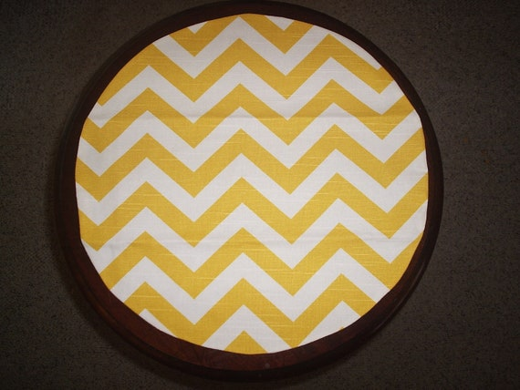 Yellow and white Chevron Table Rounds