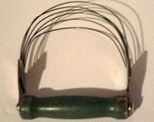 Vintage Pastry Blender - Wire Whisk - Green Wood Handled Pastry Blender - Vintage Kitchen Utensil - Green Kitchen Decor