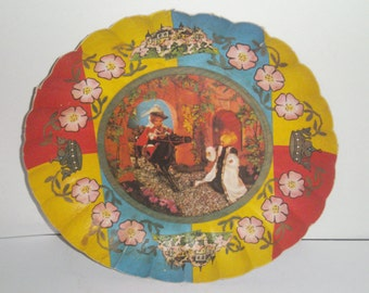 RARE Vintage West Germany Paper Bowl - Prince and Princess Fairy Tale Paper Bowl - Paper Bowl - Home Decor - Collectible Paper Bowl