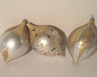 Vintage Christmas Tree Ornaments Silver and Gold Teardrop Ornaments