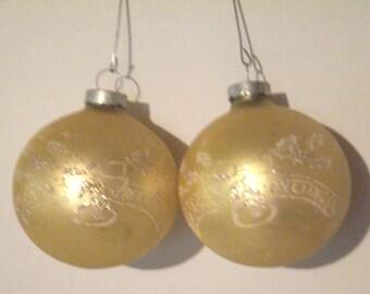 Vintage Glass Christmas Ornaments - Christmas Ornaments - Glass Ornaments - Gold Ornaments - Tree Decorations - Round Ball Ornaments