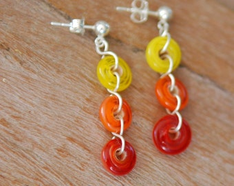 Artisan Sterling Silver Post Earrings with Yellow and Orange Glass Doughnut Beads, Wire Wrapped, Handmade