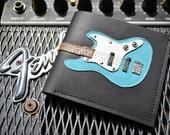 Men Wallet  Bass Guitar & Blue Color leather