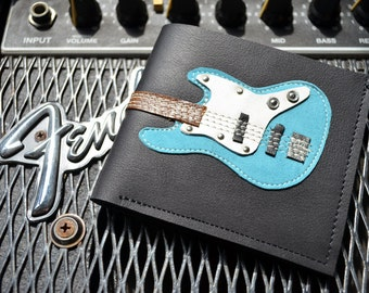 Men Wallet  Bass Guitar & Blue Color leather
