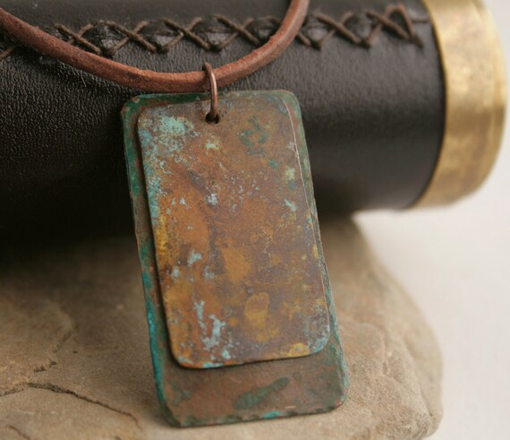 Verdigris leather necklace, copper, brass, leather, unisex