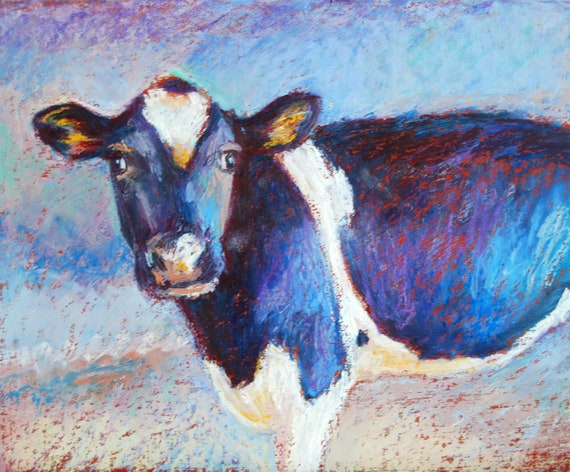 Cow Painting, 8 x 10 Original Oil Pastel Painting, Bonnie the Cow by Bethany Bryant