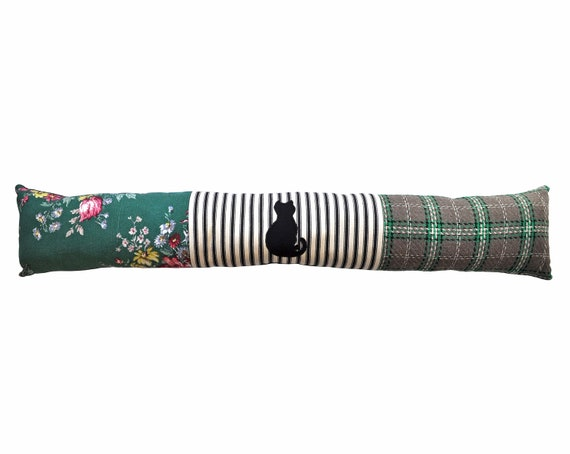 Cat Draught Excluder - Green Floral Check