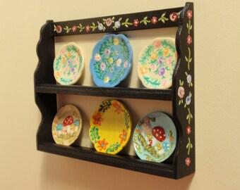 1:12 scale miniature dollhouse  plate wall shelf / stand
