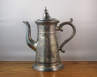 Antique Coffee Pot Tea Pot JH Whitlock from Troy New York 1800s Silver Plate