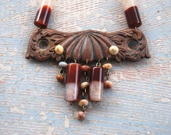 Bohemian Necklace - Maroon Agate Necklace - Antique Hardware Collection