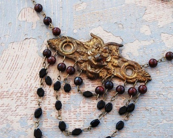 Demon Necklace - Sinister Daemon Poppy Jasper and Black Onyx Necklace - Antique Hardware Collection