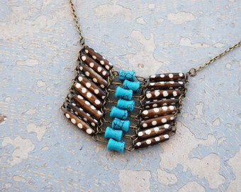 Tribal Breastplate Necklace - Modern Turquoise and Bone Dots Native American Inspired Breastplate Necklace - Modern Pocahontas Collection