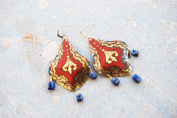 Shield Earrings - Red and Gold Baroque Recycled Tin Earrings - Views from a Tin Collection