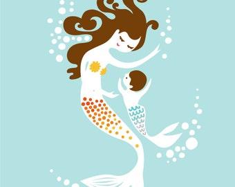 "8X10"" mermaid mother & boy giclee print on fine art paper. sky blue, orange, yellow, brunette."