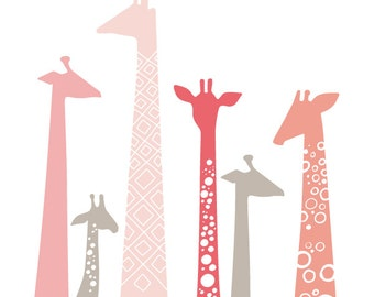 "SALE! Over 15% off. 20X24"" giraffes giclee print on fine art paper. pink & taupe brown gray."
