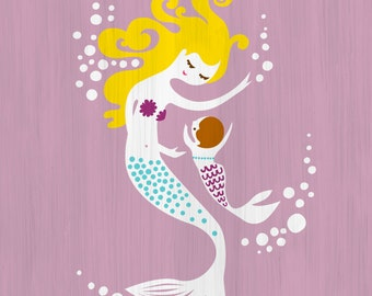 """5X7"""" mermaid mother and baby girl giclee print on fine art paper. lilac purple, teal blue, blonde, brunette. paint texture background."""