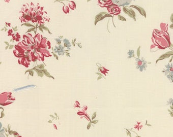 Cabbages and Roses for Moda, Padstow Range, Floral Bouquet in Ivory and Pink 35221.12 - 1 Yard Sale