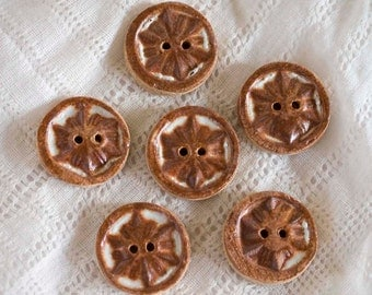 Rusty Snowflakes Ceramic Buttons - Stoneware - Clay - Pottery - Handmade