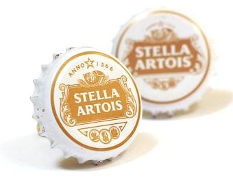 White Stella Artois Bottle Cap Cuff Links