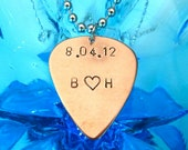 Date and Initials Guitar Pick Necklace