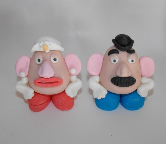 Mr and Mrs Potato Head Character Cupcake or Cake Toppers - set of 2