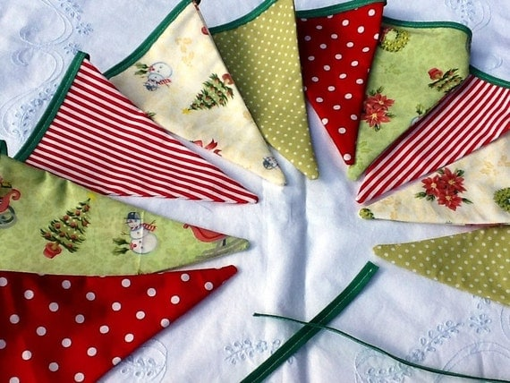 Christmas Bunting 10 Flag Fabric Garland Banner With By Melsey