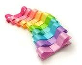 Neon Rainbow Tuxedo Bows, Set of 10 Tuxedo Hair Clips, Alligator Clips, Satin Rainbow Hair Bow Set, Party Favors, Baby, Toddler, Girl,
