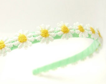 Daisy Headband for Girls and Women, Daisy Chain, Lace Flower Headband, Flower Power, White, Mint, Yellow, Spring Boho Headband, Daisy Lace