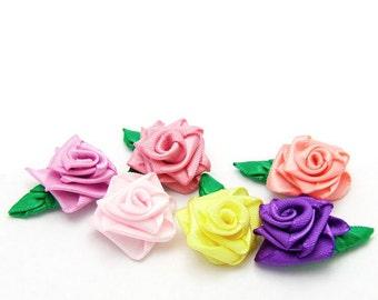Pick 6 Tiny Satin Rose Barrettes, Handmade Roses, Rose Hair Pins, 113 Colors, Baby Girls Rose Hair Clips, Women Wedding Brides Bridesmaids