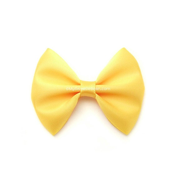 Sunshine Yellow Satin Bow, Classic Hair Bow, Girls Hairbows, 3 Inch Bow, Lemon Zest, Pantone Spring 2013