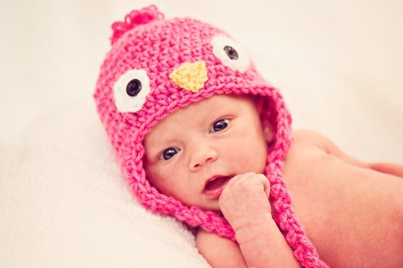 Baby Bird Hat, Ear Flaps and Ties, Photo Prop for Baby, Pink Bluebird Hat, Preemie, Newborn, 0 to 3 months, 3 to 6 months, Baby Animal Hat