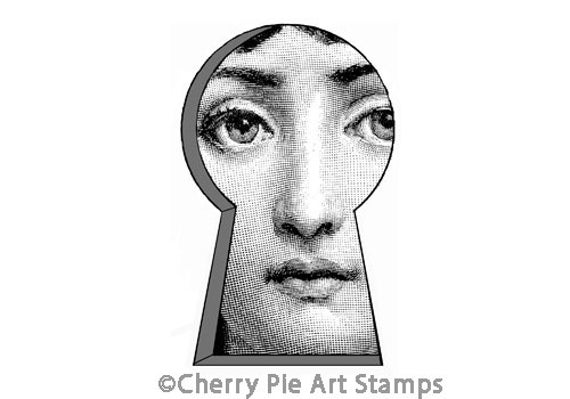 KEYHOLE shape with woman face- CLING rubber STAMP for acrylic block by Cherry Pie