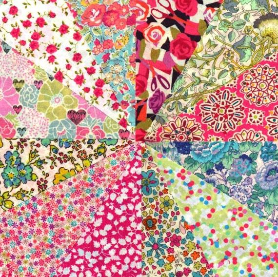 Liberty Fabric  PINK LIME & AQUA charm pack - 12 Liberty of London Tana Lawn  Fabric 5 inch squares