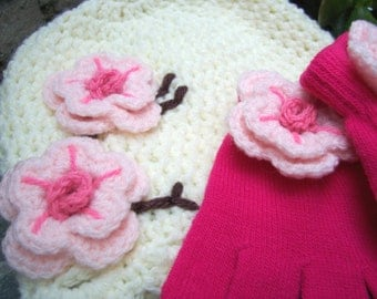 Sale 4t-preteen child size Hat and gloves set cherry blossom style cream hat with hot pink gloves