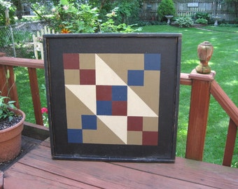 PriMiTiVe Hand-Painted Barn Quilt, Small Frame 2' x 2' - Jacob's Ladder Pattern