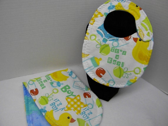 Newborn Baby  Bib and Burp Cloth Set Its a Boy