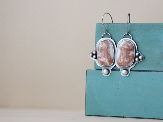 Ocean Jasper Earrings Sterling Silver and Ocean Jasper Dangle Hook Earrings