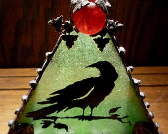 Raven Heavy Gothic Votive Candle Holder - Green and Red Stained Glass