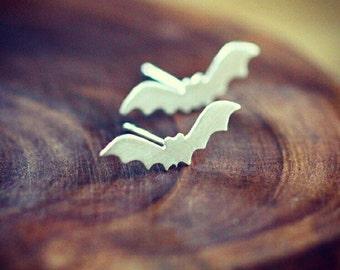 Halloween jewelry - bat jewelry - bat earrings - spooky earrings - sterling silver - goth