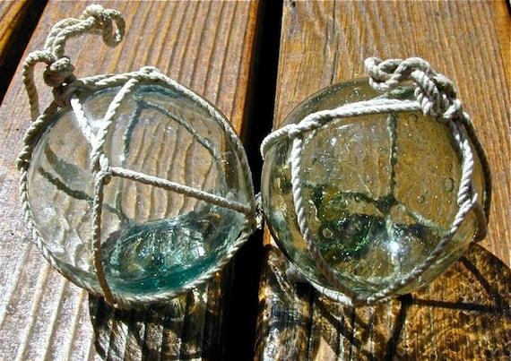 Glass Fishing Floats, Gemini Twilight Pair, Antique, Home Decor, Nautical, Beach Cottage Decor, Fishing Decor, Ocean, Garden Decor, Sea