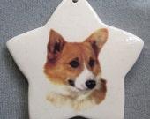 welsh Corgi dog, star ceramic ornament, free personalizing 22k gold by Nicole