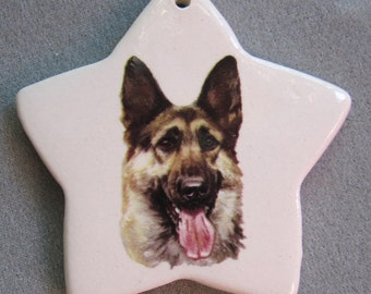 German shepherd, star ceramic ornament, free personalizing 22k gold by Nicole