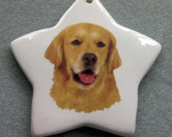 Golden Retriever dog a, star ceramic ornament, free personalizing 22k gold by Nicole