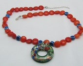RESERVED!!!!Fire and Ice Necklace with Glass Pendant,Orange Dyed Jade, Blue Ceramic Beads