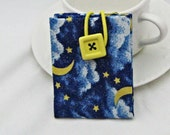 Blue, Gold, White Moon and Clouds Tea 2 Go Tea Wallet