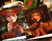 Greeting Card set of 2. Eater. fantasy art butterfly moth rose