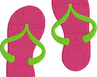 Flip Flops Sandals with fill Machine Embroidery Design 4x4 and 5x7 Instant Download