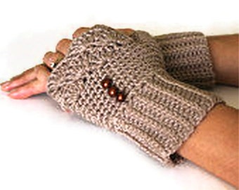 Beige Knit Fingerles Gloves